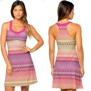prAna Yoga Shauna Dress Pink & Green 115 S EUC